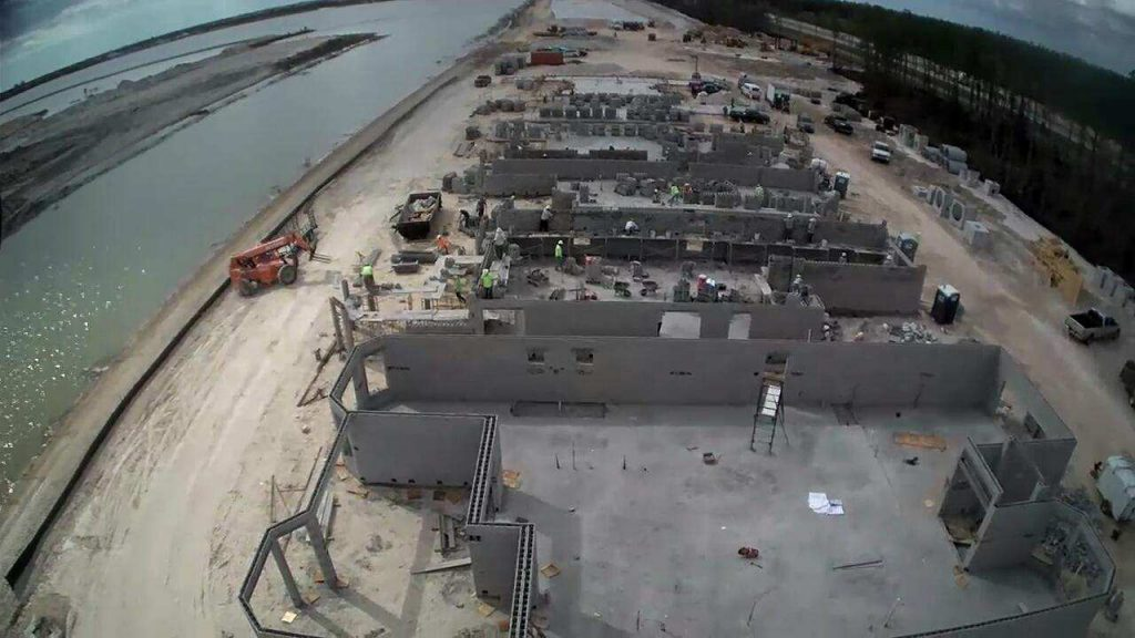 CSCI's block work in progress in a model row at Esplanade Lake Club in Ft. Myers, FL, by Taylor Morrison. This client required expedited scheduling for its new community.
