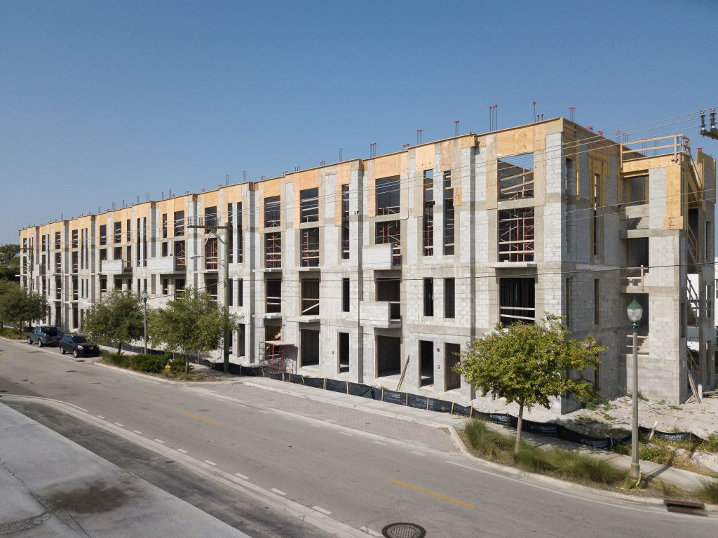 URBN Village, a commercial apartment building project in Fort Lauderdale, FL, was constructed for our client, Magna CM. This 4-story complex employs Hambro and wood flooring systems.