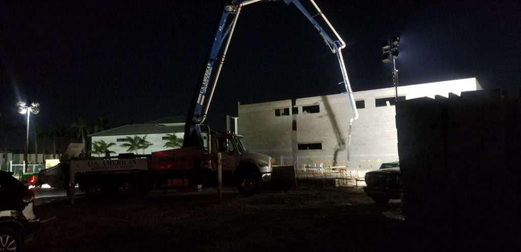 An early morning slab pour at Downtown Doral by CC Homes in Doral, FL.