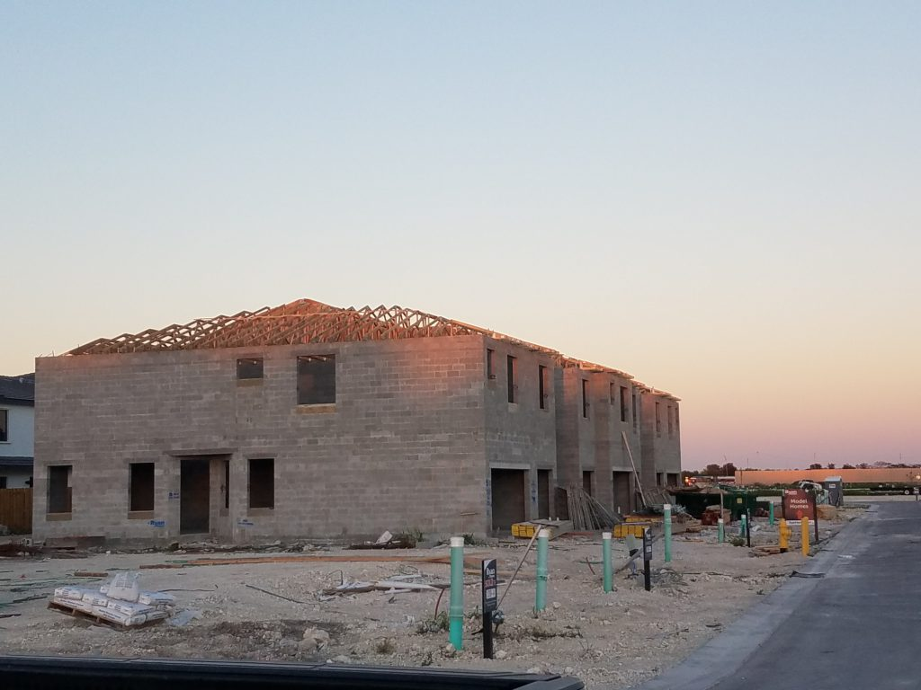 "The Landings in Florida City by Ryan Homes. First ""production"" townhome building roof goes on at the new community."