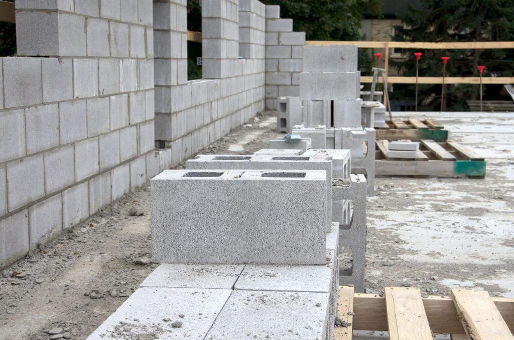 Concrete bricks being laid